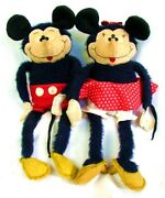 Antique Mickey And Minnie Mouse Dolls Plush Adorable C.1940and039s 12