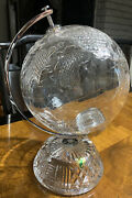 Gorgeous Retired Htf Andldquo Waterford Andldquo Crystal 11.5andrdquo Small World Globe Centerpiece