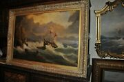 This Is A Large 19th Century Seascape Oil On Canvas