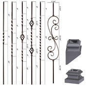Satin Black - Twist And Basket Iron Balusters - Hollow Wrought Iron - Stair Parts