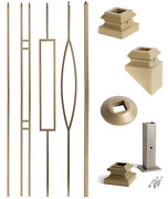 Dorado Gold - Aalto Modern Square Hollow Iron Balusters And Newel Support Posts