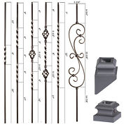 Satin Black - Twist And Basket Iron Balusters - Solid Wrought Iron - Stair Parts
