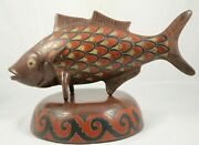 X-lg Ceramic/pottery Fish W Stand Mexican Fine Folk Art Initialed Collectible 2