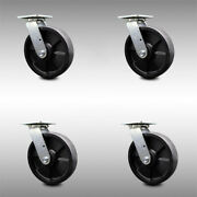 8 Inch Ss Glass Filled Nylon Swivel Caster Set With Roller Bearing And Swivel