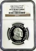 1988 Platinum Tonga 10 Paand039anga Coin Discus Thrower Ngc Proof 67 Ultra Cameo