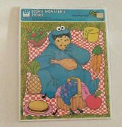 Vintage Whitman Cookie Monster Frame Tray Puzzle 1979 Sesame Street Picnic New