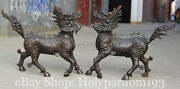 28and039and039 Chinese Bronze Stand Kylin Unicorn Fire Qilin Chi-lin Dragon Beast Statue