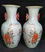 Ancient Collect Chinese Porcelain Mulan Joined The Army Flower Bottle Vase Pair