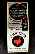 Vintage Match Cover Chanticler Supper Club. Millburn, N.j. 30's Or 40's.