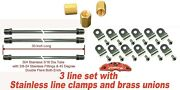 30pc - 30 3/16 Ss Brake Line - 3/8-24 Ss Nuts - 24pc Ss Clamps - Brass Union