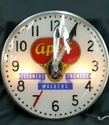 Vintage Telechron Apex Cleaners Ironers Washers Round Wall Clock