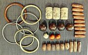 Vintage Macrame Supplies Beads Rings Clay Pottery Face 34 Pieces