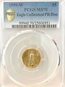1999-w 5 Gold Eagle 1/10 Oz Pcgs Ms-70 Unfinished Proof Die Emergency Issue