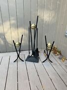 Donald Desky Andirons. Steel And Brass Midcentury W/ Fireplace Tools Set