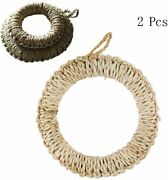 Set Of 2 Unique Hand Made Straw Trivet Round Braided Mats Hot Dishes Hot Pads