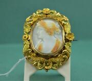 Victorian Quality Shell Cameo Brooch Ceres Foliate Gold Frame Signed 30 X 24 Mm