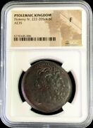 222 - 205/4 Bc Ptolemaic Kingdom Ae 35 Ptolemy Iv Philopator Zeus Coin Ngc Fine