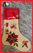 Pier 1 Imports 20 Christmas Embroidered Poinsettia And Berries Red Gold Stocking