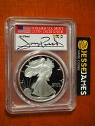 1993 P Proof Silver Eagle Pcgs Pr70 Dcam Jim Peed Hand Signed Flag Label