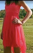 Preowned Juniors Size 1 My Michelle Coral Short Kerchief Tail Prom Dress
