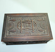 An Attractive And Large Antique Oriental Chinese Wooden Carved Box C.1900+