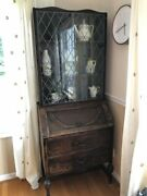 Antique Leaded Glass Hutch/china Cabinet