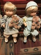 Chili Creation Loving Dolls 16' Boy And Girl Doll Porcelain On Wooden/iron Bench