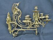 Pair Of Antique Neoclassical Gilt Brass Five Arm Wall Sconces W/ Griffin Heads
