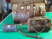 Vintage American And Victorian West Doctor's Bag, Purse And Wallet Tooled Leather