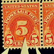 H6/21 Us Stamp J83 Bubbles Under All Andldquo5sandrdquo Errors Block Mnhog Great Error Coll