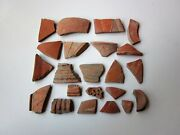 Large Lot Of 22 Ancient Roman Fine Flower Pottery Artifacts I - Ii Ad.