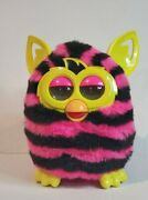 2012 Hasbro Furby Boom Pink And Black Stripes Yellow Ears And Eyes