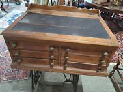 Antique Clark's Thread 6 Drawer Wooden Spool Cabinet ◇ Desk Style General Store