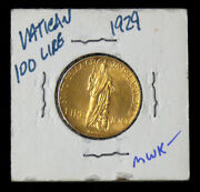 1929 / Viii Vatican City 100 Lire Gold Pius Xi - Low Mintage - Cleaned