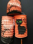 3 Vintage Paper Halloween Lanterns Black Cat And Grave Yard With Bats And Stars