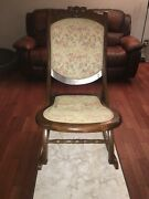 Vintage/antique Folding Wood Rocking Chair Floral Tapestry Victorian Style