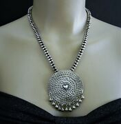 Vintage Fine Silver Tribal Beaded Rope Necklace Big Round Pendant P24