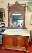 Antique Oak Revival Vanity Dresser W/ Marble Top And Mirror Dry Sink Wash Stand