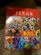 Disney Pixar Cars Toy Story Monster Inc Jigsaw Puzzle 3 Pack With Glue 2020 New