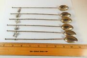 Set 6 Japanese Iced Tea Sipper Spoons Figural Charms 950 Sterling Silver