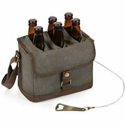 Legacy - A Picnic Time Brand 6-bottle Beer Caddy Integrated Opener, Khaki Beauty