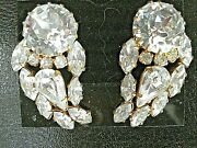 Rare Vintage Signed Austria Clear Crystal Up The Ear Statement Clip Earrings