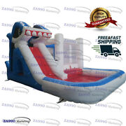 20x13ft Commercial Inflatable Shark Bounce House And Water Slide With Air Blower