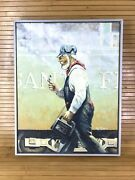 Oil On Canvas Americana Engineer Santa Fe A.t. And Sf Railroad Painting Original