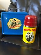 Spectacular First Year Cloud Decal 1950 Hopalong Cassidy Lunchbox And Thermos