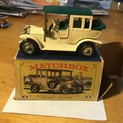 Lesney Matchbox Models Of Yesteryear Y3b White Andnbsp1910 Benz Limo Andnbspdark Green Roof