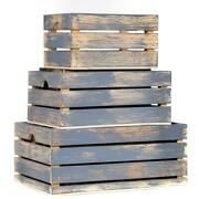 At Home On Main Decorative Wood Crate In Gray/natural Distressed Set Of 3