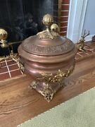 19th Century Victorian Copper And Brass Coal Scuttle W/top Large