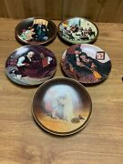 Set Of 5 Edwin M. Knowles Norman Rockwell Decorative Plates