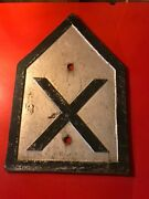 P2 Vintage Cast Iron Sign Plaque Plate Railroad Yard Crossing -